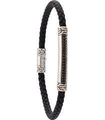 john hardy silver and woven leather classic chain bracelet with black