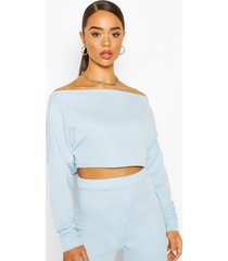 off shoulder cropped sweat top, pale blue
