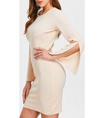 mini sleeve slit slim fit dress