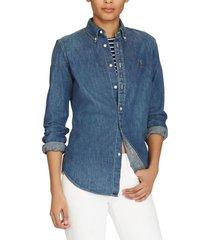 blusa custom fit denim azul polo ralph lauren