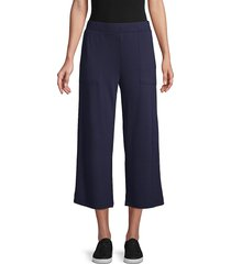 pure navy women's wide-leg terry pants - estate blue - size s