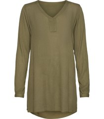 amber v-neck tunic tunika grön kaffe