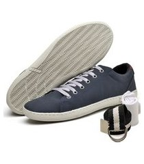 kit sapatênis casual mr shoes azul com cinto e meia