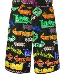 gucci metal logo printed swim shorts - black