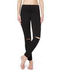 calzedonia ripped denim leggings with frayed hem woman black size s