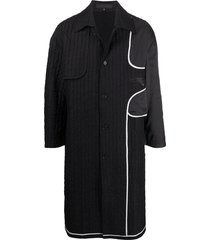 harrison wong ribbed contrast panel single-breasted coat - black
