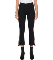 'the insider crop step fray' stripe outseam jeans