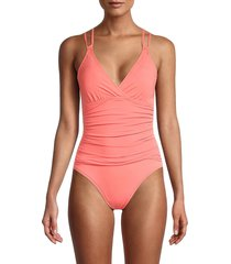 la blanca women's island goddess underwire cross-back one-piece swimsuit - bird of paradise - size 16