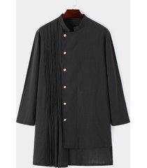 camisa a media pierna con dobladillo asimétrico y cuello alto con diseño de botón musulmán árabe para hombres
