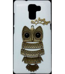 3d cute retro bronze metal owl branch hard back case cover for huawei honor 7