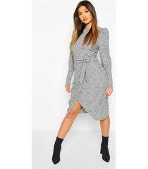 geribbelde mergel midaxi jurk met ceintuur, grey