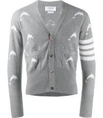 thom browne dolphin v-neck cardigan - grey