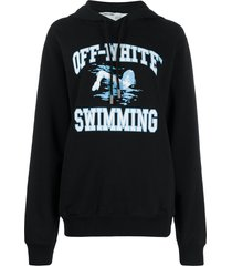 off-white swimming print hoodie - black
