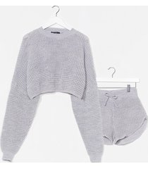 womens knit's end sweater and shorts lounge set - grey