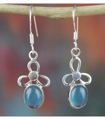 awesome sterling silver aqua chalcedony gemtone earring jewelry bje-150-ac-a