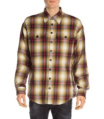 plaid wool drop-shoulder shirt