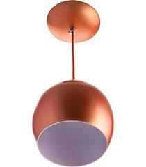 lustre pendente bola mã©dia de alumãnio 23cm cobre - cobre - dafiti