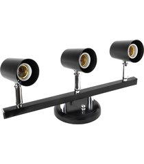 luminária spot trilho dital versátil, 3 lâmpadas, preto - 424/3