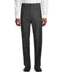 versace men's classic-fit wool pants - black grey - size 62 (46)