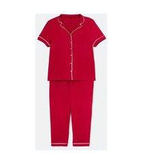 pijama blusa com botões e calça em viscolycra curve & plus size | ashua curve e plus size | vermelho | eg