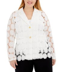 belldini plus size floral crochet jacket