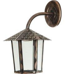 arandela colonial sextavada vidro liso 1xe27 cobre brilhante - 109400-05 - blumenau - blumenau