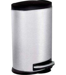 lixeira inox 5 litros pedal banheiro cozinha oval 8230 - prata - dafiti
