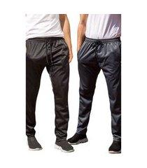 kit 2 calças esportiva ks masculina agasalho cós de elástico bolsos laterais kit-pc-0375 multicolorido