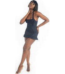 grayscale denim halter mini dress