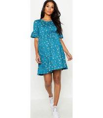 zwangerschap gesmokte bloemenprint jurk met ruches, blauwgroen