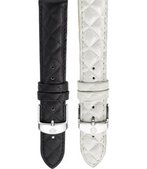 michele 18mm quilted leather watch strap in violet at nordstrom