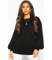 balloon sleeve knitted sweater, black