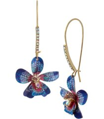 betsey johnson orchid dangle earrings