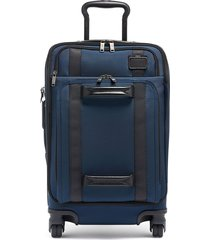 tumi merge 22-inch front lid recycled dual access 4-wheeled carry-on - blue