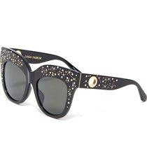 'dunaway' embellished oversized thick frame sunglasses