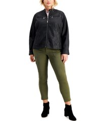 jou jou juniors' trendy plus size faux-leather jacket