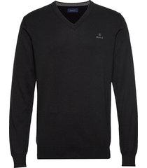 classic cotton v-neck gebreide trui v-hals zwart gant