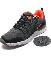 tenis lifestyle gris-naranja-negro fila shield