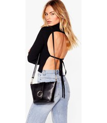 womens want join our circle buckle crossbody bag - black