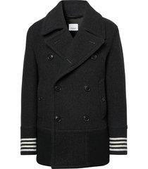 burberry striped-cuff short peacoat - black