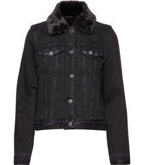 sherpa collar denim coat jeansjack denimjack zwart abercrombie & fitch