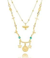 colar duplo pingentinhos religiosos colors lua mia joias - semijoia folheada a ouro 18k - feminino