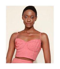 top cropped feminino mindset corset alça fina decote princesa coral
