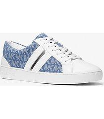 mk sneaker catelyn in denim jacquard con logo e righe effetto metallizzato - denim (blu) - michael kors