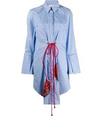 thebe magugu long drawstring shirt dress - blue