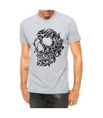 camiseta criativa urbana caveira assimétrica tattoo manga curta