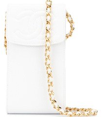chanel pre-owned shoulder pochette phone case - white