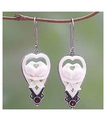 garnet and bone dangle earrings, 'dove couple' (indonesia)