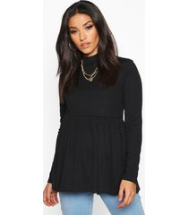 maternity high neck smock top, black