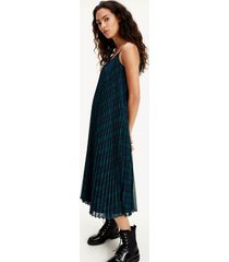 tommy hilfiger women's icon pleated midi slip dress black watch /large green check - 12